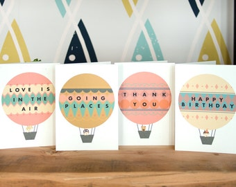 Hot Air Balloon Greeting Card - Thank You / Happy Birthday / Going Places / Love is in the Air