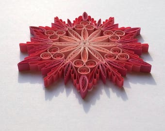 Quilled Snowflakes Paper Quilling Art Christmas Tree Decor Winter Hanging Ornaments Gifts Toppers Mandala Office Corporate Pink Wedding