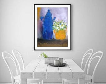Blue tes put and Orange vase, white flowers modern still life, cobalt and mustard yellow kitchen art, Swedish home accessories Boho house