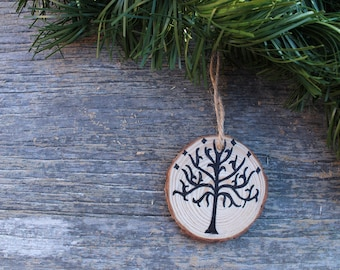 Lord of the Rings Ornament, Tree of Gondor, Christmas Ornament, Wood Slice Ornament, Christmas Decor, Holiday Decor, Christmas Gift