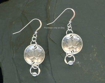 Handmade 1938 Dime Earrings 80th Birthday Gift for Women Gift Coin Jewelry 1938 Dimes