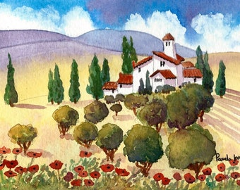 Original Watercolour, Landscape Painting, Tuscany, Villa, Italy, Size 9ins x 7ins, Gift Idea, Art and Collectables