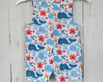 John John / Jon Jon Suit Baby Boys size 1 Sunsuit  Beach Sunsuit Whales Sun Suit