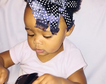 Black & white pokadot headband