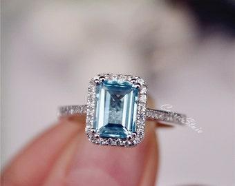 Natural Aquamarine Ring Emerald Cut Aquamarine Engagement Ring Wedding Ring Sterling Silver Ring Anniversary Ring Birthday Present