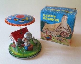 Vintage Mechanical Happy Grandpa With Ringing Mill
