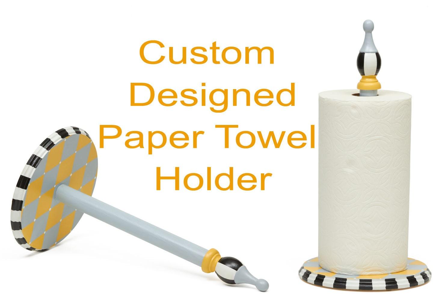 Custom Designed Wood Paper Towel Holder Hand Made Standing