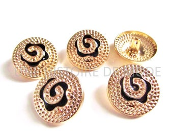 5 buttons in gold tone engraved 25 mm - metal sewing button