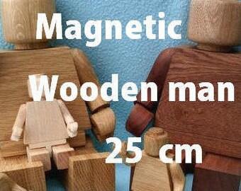 Magnetic Wooden man 25cm wooden toy Christmas wooden toys Wooden doll figure Christmas gift nursery decor Montessori waldorf toys