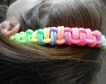Paracord rainbow headband