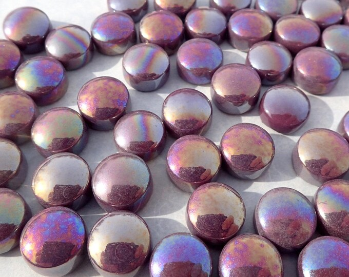 Deep Purple Iridescent Glass Drops Mosaic Tiles - 100 grams Pearl Vase Fillers Home Decor - Flat Back Marbles Glass Gems