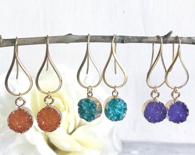 Druzy Drop Earrings. Dangle Earrings. Druzy Earrings.  Gift for Her. Druzy Jewelry. Christmas Gift. Holiday Gift. Jewelry Gift.