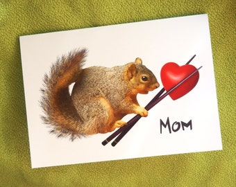 Printable Squirrel with Heart in Chopsticks Mom Card, Squirrel Printable Mother's Day Card