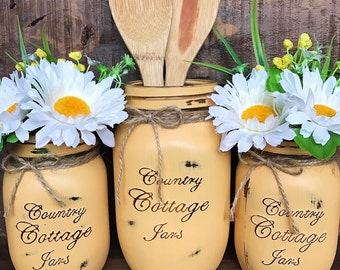 Kitchen- Vintage Farmhouse Style Distressed Handpainted Mason Jar 3 Piece Set