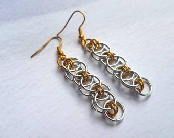 Chainmail earrings, ren faire jewelry, Chainmaille jewelry, statement jewelry, festival jewelry, Celtic earrings, renaissance jewelry