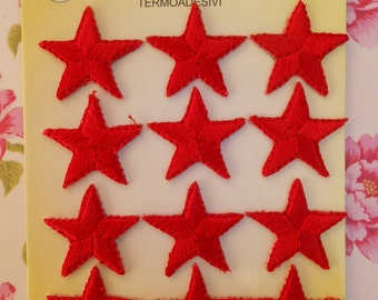 Iron on Red Stars Embroidered Patches 12pcs
