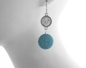 Summer Jewelry, Turquoise, Druzy, Lever back Earrings, Silver, Sparkling Jewelry, one-of-a-kind, Essential Jewelry, Pierced Earrings