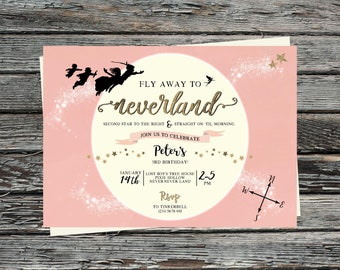 Personalised Neverland Invitation, Second Star to the Right Straight on til Morning, Pink Peter Pan, Gold, Pixie Dust, Never Grow Up, Moon