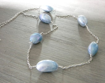 Long Blue Clamshell Chain Necklace Lobster Clasp 32 Inch