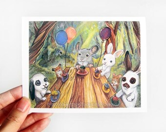 Happy Birthday Card, Woodland Animal Party, Blank Greeting Card, Bunny Rabbits, Chinchilla Art, Cute Hamster, Personalized Name Card