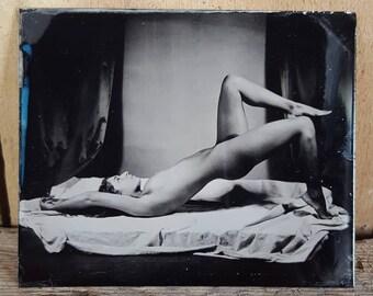 Nude model figure study tintype Monique-06