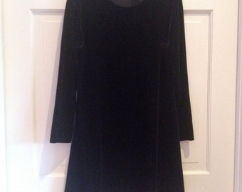1990s Velvet Long Sleeve Mini Dress