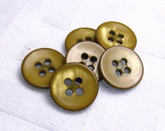 "Brassy Mustard: 1/2"" (13mm) Iridescent Gold Buttons - Set of 6 Vintage New Old Stock Buttons"