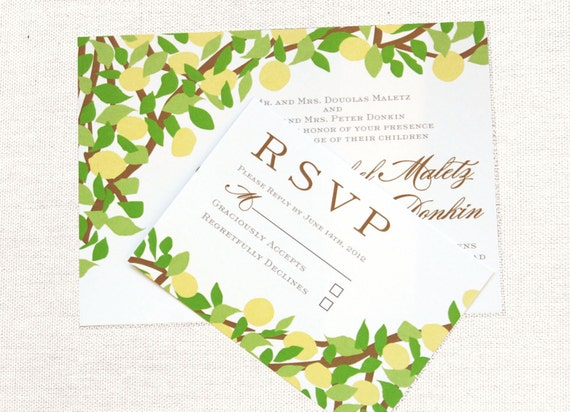items similar to lemon tree yellow and green wedding invitation
