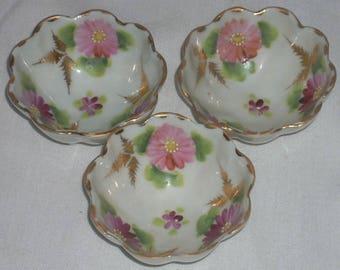 Vintage Antique Porcelain Gold Footed Salt Cellars or Nut Bowls 3
