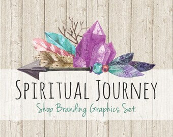 Boho Crystal Shop Branding Banners, Avatar Icons, Business Card, Logo Label + More - 12 Premade Graphics Files - SPIRITUAL JOURNEY