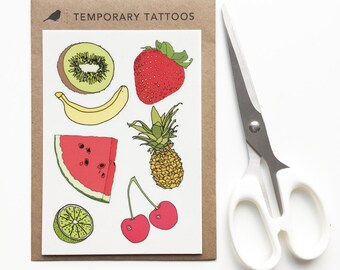 Fruit temporary tattoos - watermelon , pineapple , strawberry , kiwi , banana , cherry , lime - tropical fake tattoo