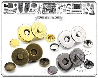 10sets 14mm or  18mm Double Rivet Magnetic Purse snaps Closures Buttons