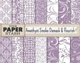 Purple Damask Digital Paper, Amethyst, Lavender Flourish & Filigree Patterns for Wedding, Birthday Scrapbooking, Commercial Use, Download