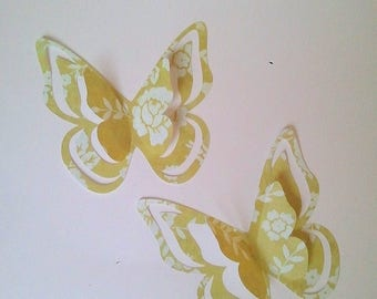 "The sticker paper with adhesive ""pretty butterflies"" yellow"