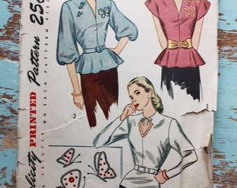 """Vintage 1940s Peplum Blouse Pattern / Simplicity 1782 / 1940s Sewing Pattern / Bust 32"""""""