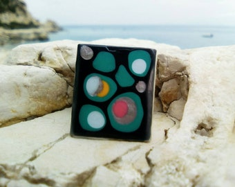 Black statement ring, gothic ring as a mock agate