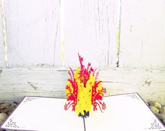 Flower Bouquet 3D Pop Up Card (red and yellow), Beautiful Flower 3D card, Birthday Card, Card for her, Mother's Day Card, Congratulations