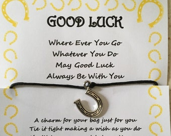 Good luck, horseshoe, may good luck always be with you quote, competition, exam, test, bag, handbag, wish, charm, card, gift, poem