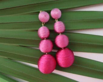 """The Lido: A Pink Ombre """"Bon Bon"""" Style Pom Pom Earring (Ships Immediately!)"""