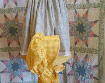 Yellow Gingham Girl's/ Toddler Dress, Pinafore and Bonnet Set - 4T