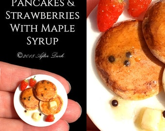 Pancakes & Strawberries with Real Maple Syrup - Dolls House Food in 12th scale. From After Dark miniatures.