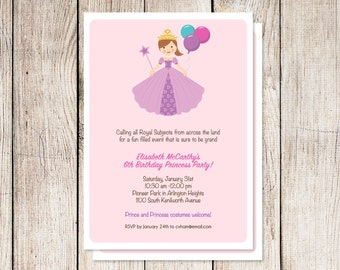 Princess party invitation, princess birthday party, printable princess invitation, printable party invitation, custom invitations, digital