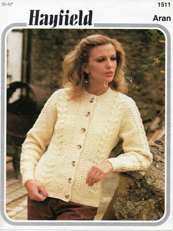 Vintage womens aran cardigan knitting pattern PDF ladies cable ...
