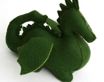 Green Wool Felt Dragon