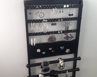 """ON SALE Jewelry Organizer, Double Deluxe, 25 x 14, """"You Choose The Stain"""" Bangle Bracelet, Earring Holder, Ring, Necklace Holder, Solid Oakw"""