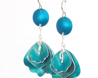 Long Floral Earrings,  Anodized Aluminum Drop Earrings - Available in Four Colors