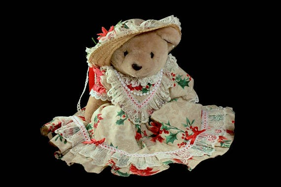 1991 Bearly People Bear, Victorian Christmas, Stuffed Animal, Collectible, Display Bear,  Holiday Bear, Plushie
