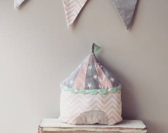 Nursery Circus Pillow, Baby Pillow, Kids Decorative Pillow
