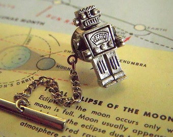 Miniature Robot Pin Steampunk Robot Tie Tack Vintage Inspired Tiny Toy Robot Men's Gifts & Accessories Men's Tie Tack