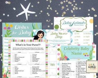 Mermaid-Baby Shower Games Set 01-DIY-Printable Games-Bingo-Celebrity Baby Name-Wishes-Baby Animals-What's In Your Purse